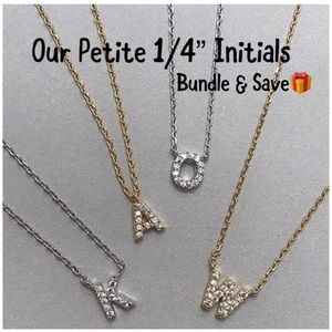 "Petite 1/4""Quality Cubic Zirconia Initial Necklace"